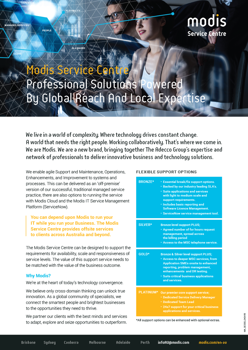 Modis Australia | Service Catalogue Micro Thumbnail - Microsoft Services